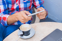 Man hands holding mobile phone,smartphone. Royalty Free Stock Photos