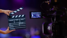Man hands holding movie clapper.Film director concept.camera show viewfinder image catch motion in interview or broadcast wedding. Ceremony, catch feeling stock image