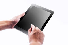 Man hands holding and point on modern electronic digital frame. With blank screen Royalty Free Stock Photo