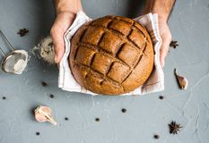 Man hands holding rye bread in towel Royalty Free Stock Image
