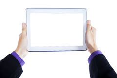Man hands holding tablet pc Stock Photos