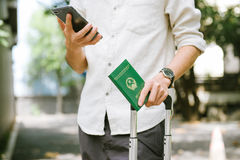 Man hands holding Vietnamese Passport. Ready for traveling. Royalty Free Stock Image