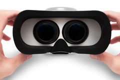 Man hands holding virtual glasses, isolated Stock Images