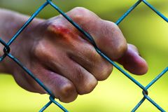 Man hands in jail. Imprisonment. Poverty, suffering. Royalty Free Stock Photography