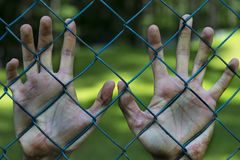Man hands in jail. Imprisonment. Poverty, suffering. Royalty Free Stock Images