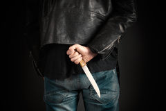 Man hands with knife Stock Photo