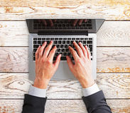 Man hands on a laptop Stock Photography