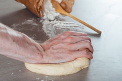 Man hands making yeast dough for estonian pastry Royalty Free Stock Photos