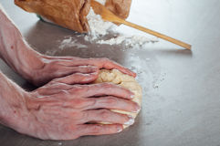 Man hands making yeast dough for estonian pastry Stock Photography