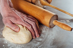 Man hands making yeast dough for estonian pastry Stock Image