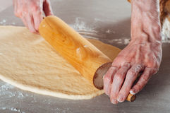 Man hands making yeast dough for estonian pastry Royalty Free Stock Image
