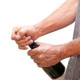 Man hands opening champagne Royalty Free Stock Photo