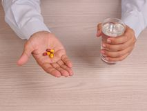 man hands with pills Stock Photography
