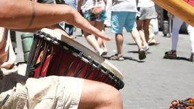 Man hands play drum stock video