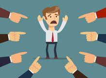 Man with hands pointing at him. Man with fingers pointing at him. Stock flat vector Royalty Free Stock Image