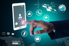 Man hands are pointing on touch screen Stock Photo