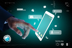 Man hands are pointing on touch screen Royalty Free Stock Images