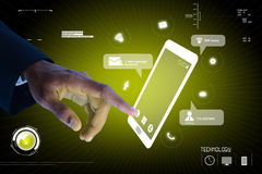 Man hands are pointing on touch screen Stock Photography