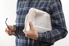 Man hands with reading newspaper Stock Photos