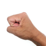 Man hands show stranglehold on white background.  royalty free stock images