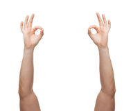 Man hands showing ok sign Stock Photography