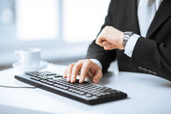 Man hands typing on keyboard Royalty Free Stock Photography