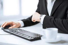 Man hands typing on keyboard Stock Image