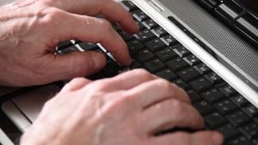 Man hands typing on a keyboard, close-up stock video