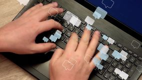 Man hands typing on laptop, speech bubbles fly away. Man hands rapidly typing messages on laptop keyboard. Lot of speech bubbles fly away. Real video with 3d stock video footage