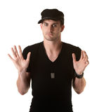 Man with Hands Up Stock Images
