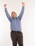 A man with hands up in the air. Isolated on white background. Stock Photography