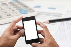 Man hands using smart phone white screen Royalty Free Stock Photo
