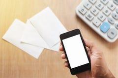 Man hands using smart phone white screen Royalty Free Stock Image