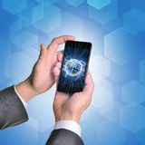 Man hands using smartphone. Earth and business Royalty Free Stock Photography
