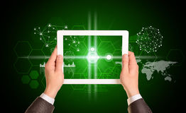Man hands using tablet pc. Image of business Royalty Free Stock Photo
