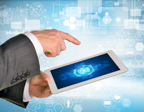 Man hands using tablet pc. Image of business Royalty Free Stock Images