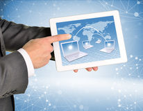 Man hands using tablet pc Royalty Free Stock Images