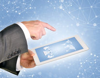 Man hands using tablet pc Stock Photo