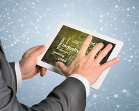 Man hands using tablet pc. Money and business. Words on touch screen. Wire-frame spheres as backdrop Stock Photo