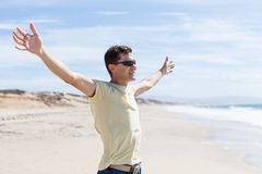 Man with hands wide open Royalty Free Stock Images