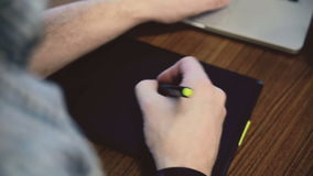 Man hands working on graphic tablet. stock footage
