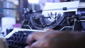 Man hands working on Vintage Manual Typewriter. Male hands working on Vintage Manual Typewriter stock footage