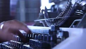 Man hands working on Vintage Manual Typewriter. Male hands working on Vintage Manual Typewriter stock video footage