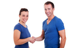 Man handshake a woman Royalty Free Stock Photos