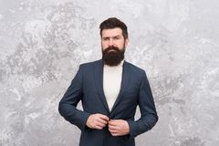 Man handsome bearded businessman wear formal suit. Menswear and fashion concept. Man of style and status. Guy brutal royalty free stock photography