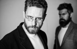 Man handsome bearded mature guy wear eyeglasses. Eye health and sight. Optics and vision concept. Smart glance. Accessory for smart appearance. Wearing glasses stock image