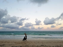 Man Handstanding on beach at Dusk with Dog spotting the pose Royalty Free Stock Photography