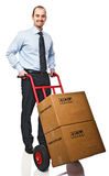 Man with handtruck Royalty Free Stock Image