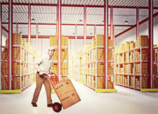 Man with handtruck Royalty Free Stock Photo
