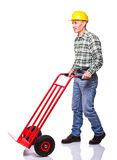 Man with handtruck Stock Photography
